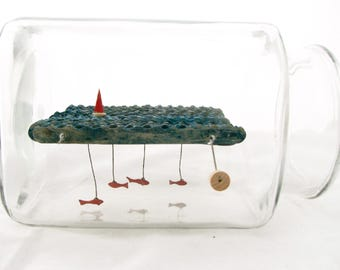 kinetic nautical art, fish and sailboat automaton sculpture, glass jar home decor, man cave decor, ship in a bottle