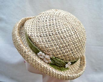 Vintage Woven Straw Small Brim Hat / Vintage Natural Straw Hat With Vintage Trim / Vintage Summer Straw Hat
