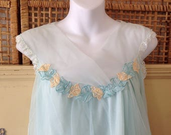 Vintage Aristocraft NWT Nightgown Aqua Short Nylon Chiffon Tulips Medium