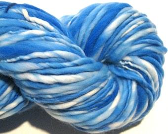 Super Bulky Handspun Yarn Almost Solid Blue 142 yards hand dyed merino wool blue yarn waldorf doll hair knitting supplies crochet supplies