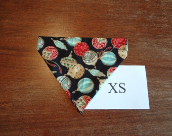 Christmas -Ornaments themed  dog bandana- over the collar- X small