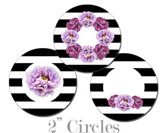 Digital Printable Bridal Shower Cupcake Toppers 2 Inch Circles with Purple Flowers on Black Stripes CCTB001