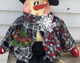 Cardinal snowman