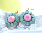 Pacific Green Opal & Opaque Pink Swarovski Rhinestone Flower Drops 13mm - 2