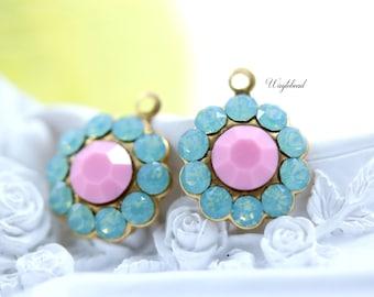 Pacific Green Opal & Opaque Pink Swarovski Rhinestone Flower Drops 13mm - 2