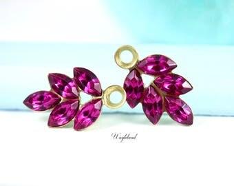 Vintage Swarovski Crystal Rhinestone Leaf Pink 21x11mm Drops Charm Dangles Set Stones Fuchsia - 2