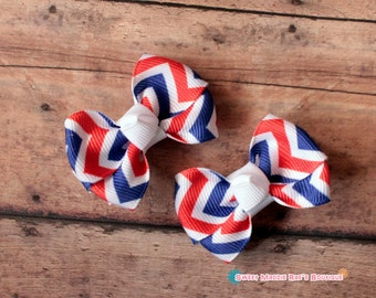 Girls Hair Bows--Red White and Blue Chevron--2 Inches