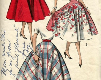Vintage 50s Advance 8597 Full Circle Rockabilly Skirt Sewing Pattern Waist Size 28