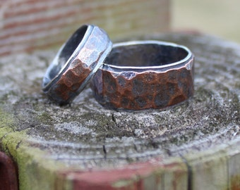 Wedding Band Set Wedding Rings Hammered Mixed Metal Rings His and Hers Rugged Band