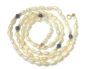 Freshwater Rice Pearl Necklace Lapis and Gold Beads 14K Clasp Vintage
