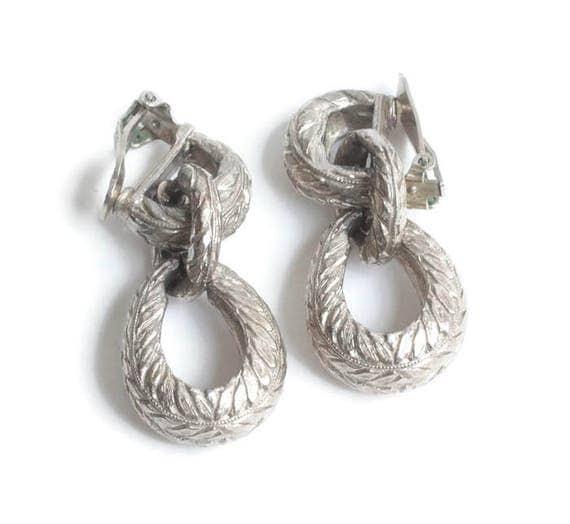 Pauline Rader Door Knocker Earrings Chunky Textured Vintage