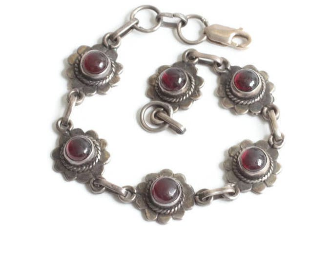 Sterling and Garnet Link Bracelet Flower Settings Vintage