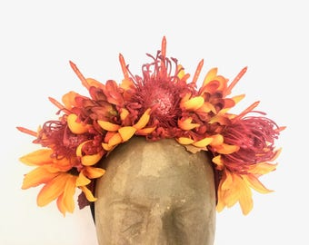Red and Orange Floral Spike Halo Headpiece
