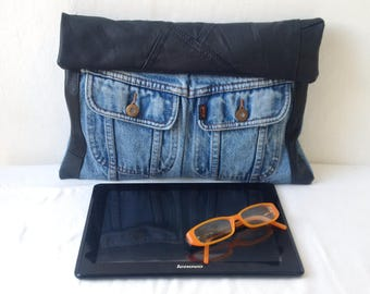 denim clutch bag, recycled denim bag, denim and leather bag, upcycled bag, jeans jacket, ipad, tablet,manbag, recycled bag,upcycled,denim