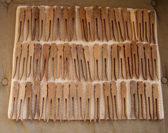 Lot of very old clothespins (58) flat type, various shapes and sizes