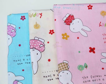 Lovely Cartoon Colourful Miffy Bunny and Friends Flower Floral Fabric, Choose Color - Cotton Fabric (1/2 Yard)