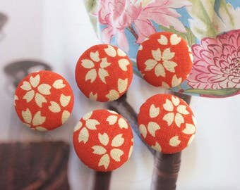 Japanese Traditional Retro Orange Sakura Cherry Blossom Floral Flowers- Handmade Fabric Covered Buttons(0.75 Inches, 5PCS)