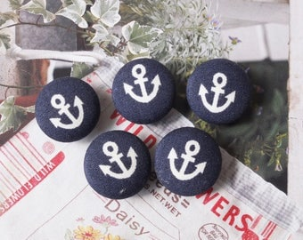 Small Simple White Nautical Marine Geometric Anchors On Dark Blue-Handmade Fabric Covered Buttons(0.55 Inches, 5PCS)
