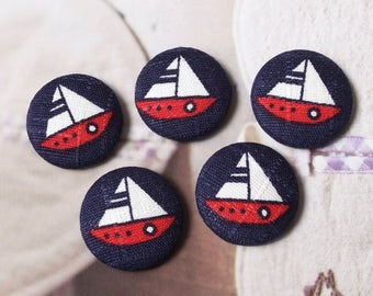 Summer Ocean White Red Nautical Marine Sailboats Sailing Boats On Dark Blue-Handmade Fabric Covered Buttons(0.87 Inches, 5PCS)