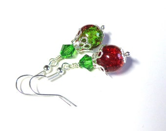 Jewelry Earrings Green, Red Sparkling Crackled Glass, Swarovski Austrian Crystals, Silver