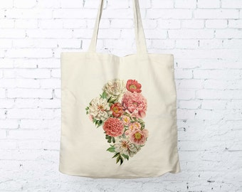 Floral Tote Bag Cotton Canvas Market Tote Grocery Shopping Bag Peony Bunch