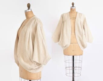 Vintage 70s Indian Cotton JACKET / 1970s Nubby Textured Neutral Ivory Draped Cocoon Cardigan