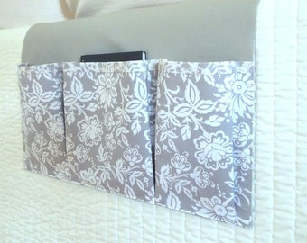 Bedside Organizing Caddy in a Gray and White Design
