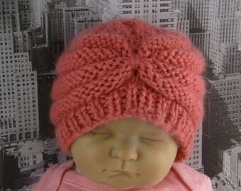HALF PRICE SALE Instant Digital File pdf download knitting pattern- Baby Chunky Beehive Turban Beanie Hat knitting pattern pdf download