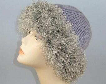 50% OFF SALE Instant Digital File PDF Download Knitting pattern - Faux Fun Fur Trim Beanie Hat pdf download knitting pattern
