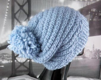 50% OFF SALE Superfast Swirl Bobble Slouch Hat CIRCULAR knitting pattern by madmonkeyknits