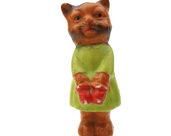 Vintage Bisque Kitty Cat Kitten Toy Figurine with Mittens Made in Japan