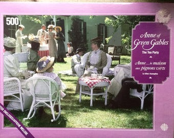 "Anne of Green Gables Jigsaw Puzzle Mint 500 Pieces New Sealed Complete ""The Tea Party"" LM Montgomery Megan Follows Sullivan Productions"