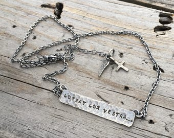 Sterling Silver Stamped Personalized Necklace Handmade by Wild Prairie Silver