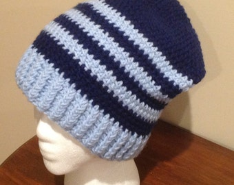 Navy and Light Blue Slouchy Hat/Beanie