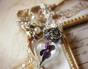 ON SALE Purple Iris Flower Glass Vial Terrarium Necklace by Woodland Belle