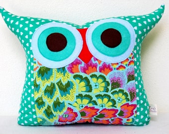 Use coupon codes/Aqua owl pillow/Teal /kids and baby gift under 20/Owl pillow/pillow dwecoration/Ready to ship