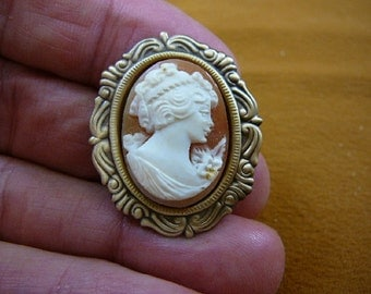 classic Woman with curled updo hair oval hand carved shell CAMEO brass pin pendant c1366
