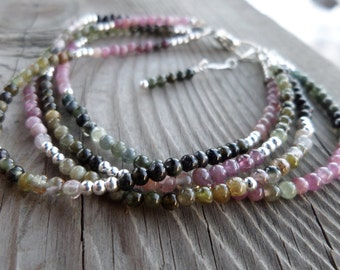 Rainbow Tourmaline Gemstone and Sterling Silver Quadruple Strand Bracelet