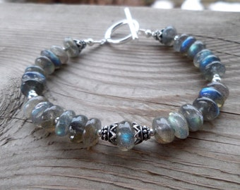 Flashy Smooth Labradorite and Sterling Silver Handmade Gemstone Bracelet