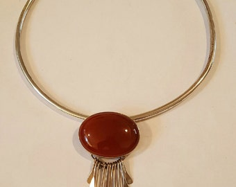 Vintage Sterling Silver Carnelian Dangle Cabochon Pin Pendant Necklace