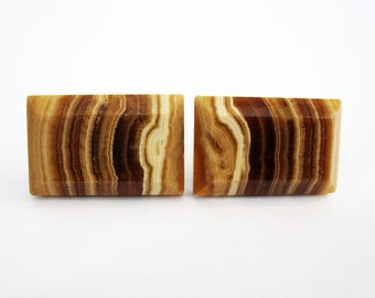Vintage Modern Design Cuff Links in Polished Stone. Circa 1960's.