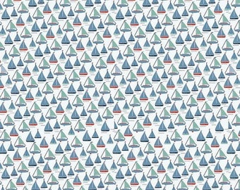 Riley Blake Fabric Sea Boat in White,  choose your cut