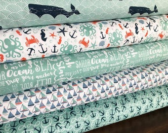 Riley Blake By The Sea Collection Fabric Bundle, choose your cut