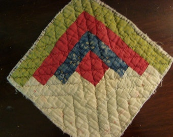 Antique Early 1900 Log Cabin Quilt Block ~  Lycoming County PA