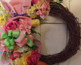 Whimsical Rabbit Easter Pink Floral Top Hat Grapevine Wreath