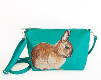 Netherland Dwarf bunny rabbit bag - handpainted, turquoise vegan faux leather crossbody adjustable medium shoulder purse - one of a kind