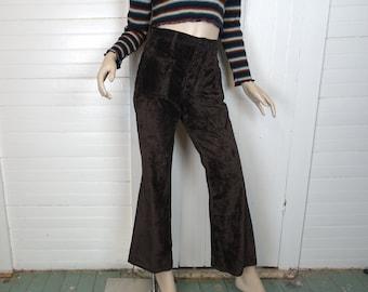 Brown Velvet Bell Bottoms by Wrangler Jeans- 1970s / 70s Disco- Sailor Pants- Small