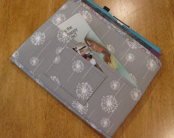 Gray and White Dandelions Magazine & Tract Bag, Tablet Sleeve, With Contact Card Pocket