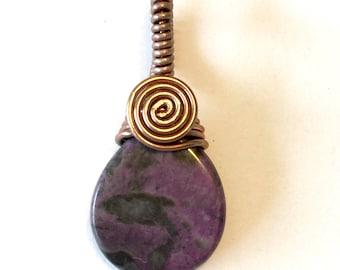 Handmade wire wrapped pendant purple jasper