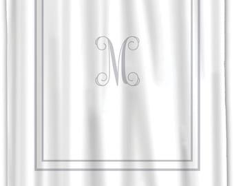 Custom Shower Curtain -Simplicity-2 Stripe Border with or w/o Monogram